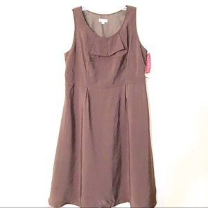 Merona Womens Dress size 16 brown ruffle fit flare